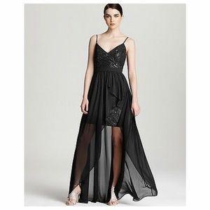 AQUA, Black Sequins Hi-Low Chiffon Gown, size 2